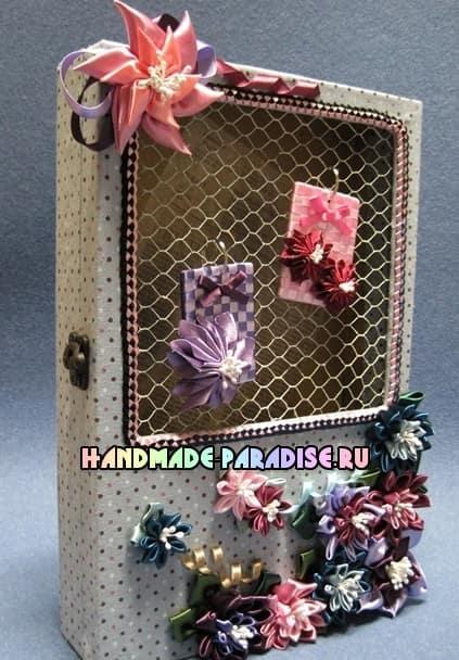 Цветок вертушка из атласных лент (9)