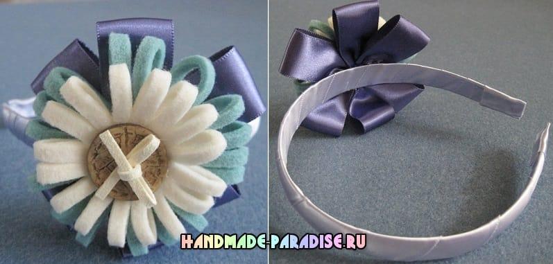Фетровые цветы для декорирования ободка (6)