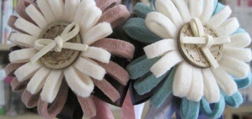Цветы из фетра для декорирования ободка