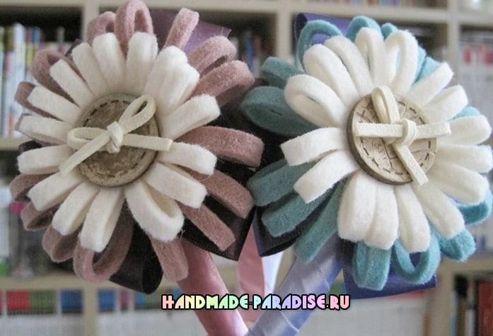 Цветы из фетра для декорирования ободка (7)