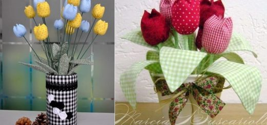 Тюльпаны из ткани и ваза из коробки