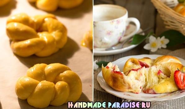 Дрожжевые плетеные булочки с клубникой (5)