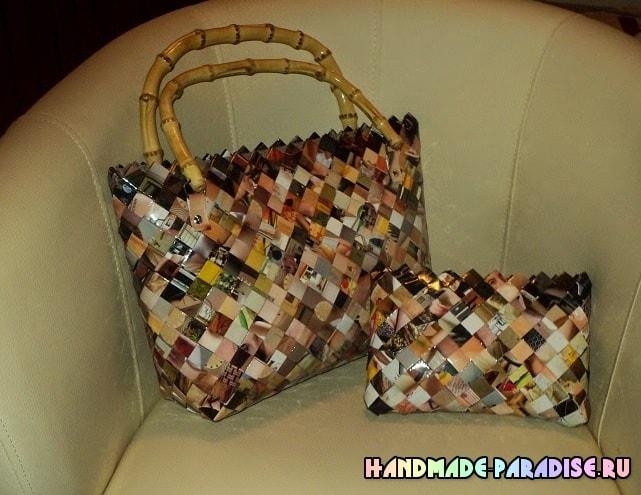 Как сплести сумку из журналов (2)