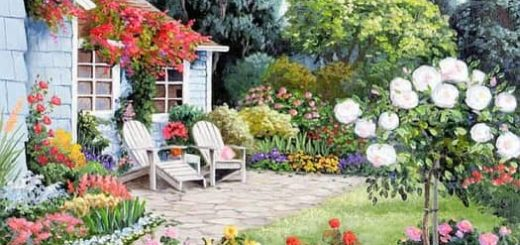 Картинки для декупажа. Цветы и домики