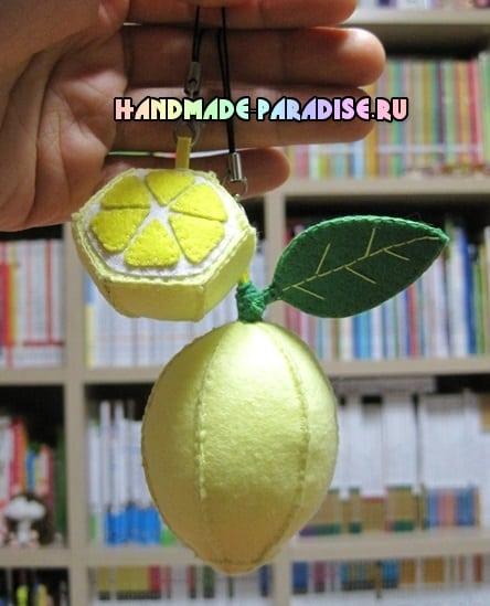 Лимоны. Подвески-брелоки из фетра