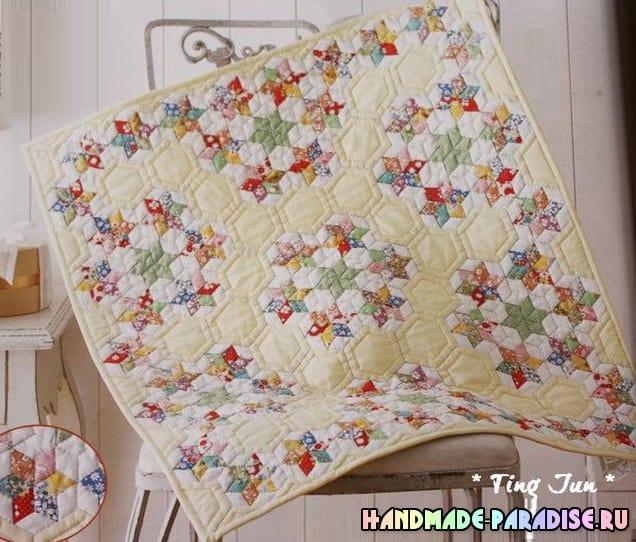 Лоскутное детское одеяло со звездочками