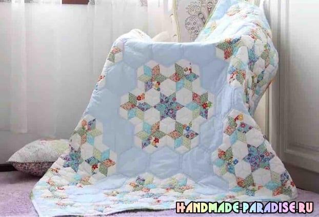 Лоскутное детское одеяло со звездочками (5)
