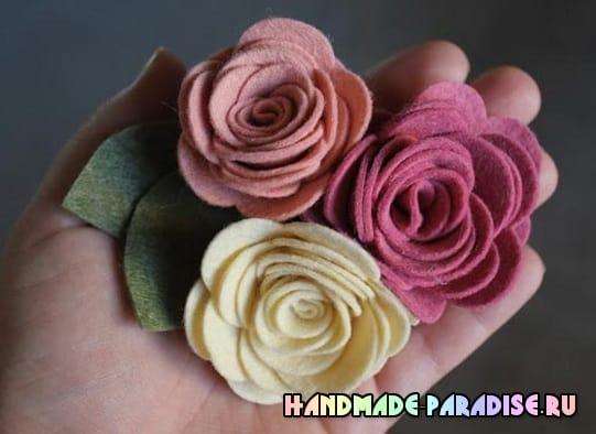 Розочки из фетра для украшения волос (2)