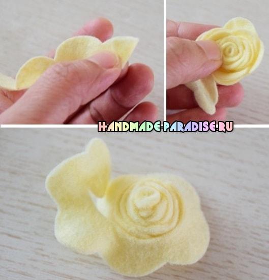 Розочки из фетра для украшения волос (3)