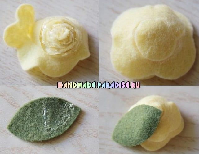 Розочки из фетра для украшения волос (4)