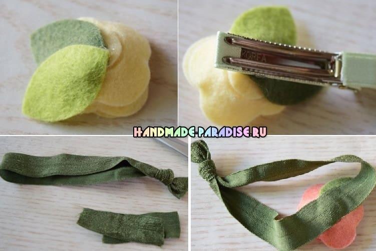 Розочки из фетра для украшения волос (5)