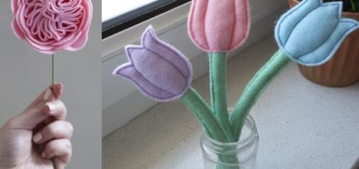 Английские розы и нежные тюльпаны из фетра