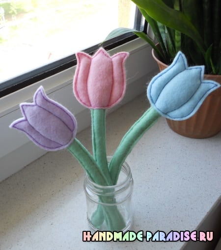 Нежные тюльпаны из фетра. Мастер-класс (5)