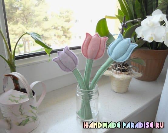Нежные тюльпаны из фетра. Мастер-класс (6)