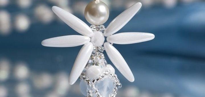 Плетение ангела из бисера и стеклянных бусин