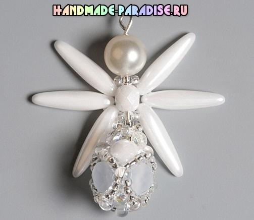 Плетение ангела из бисера и стеклянных бусин (7)