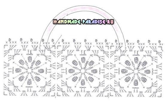 Схема вязания сумки крючком из цветочных мотивов (2)