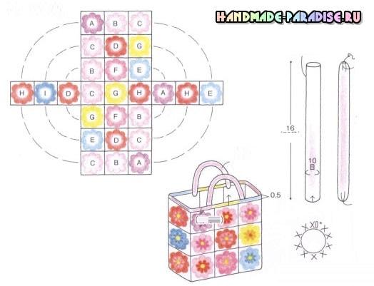 Схема вязания сумки крючком из цветочных мотивов (3)