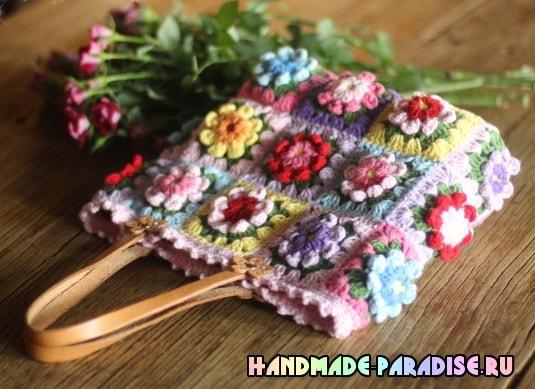 Сумка крючком из цветочных мотивов (4)