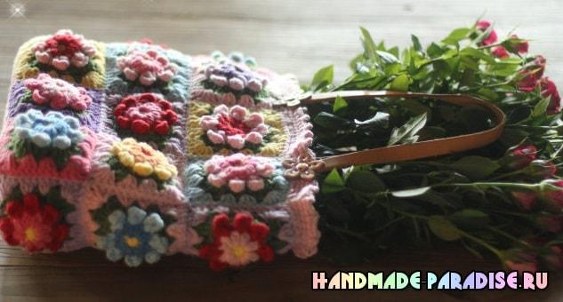 Сумка крючком из цветочных мотивов (5)