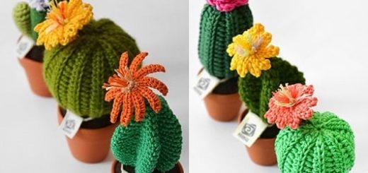 Цветущий вязаный кактус. Схемы