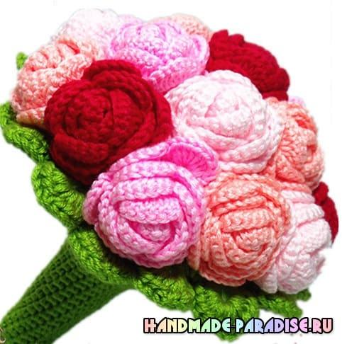 Вязаные розы крючком. Схема (2)