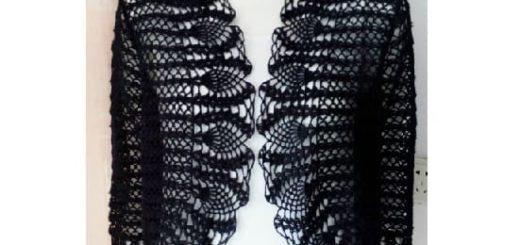 Жакет - болеро крючком с обвязкой узором ананас