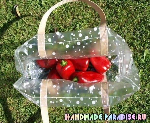 Пляжная сумка из полиэтиленовой скатерти (11)