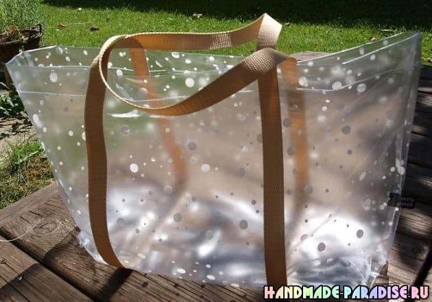Пляжная сумка из полиэтиленовой скатерти (8)