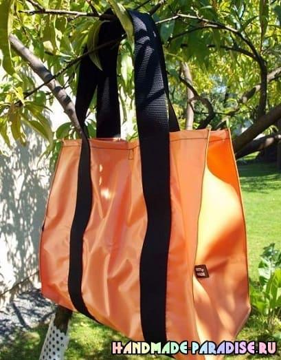 Пляжная сумка из полиэтиленовой скатерти (9)