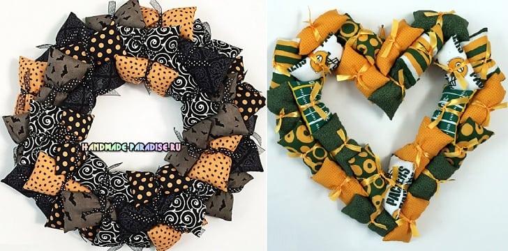 Декоративные венки из текстильных подушечек (5)