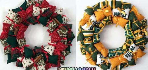 Декоративные венки из текстильных подушечек
