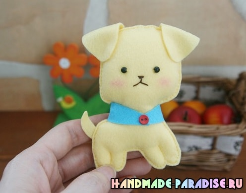 Как сшить игрушку - маленького щенка из фетра (2)