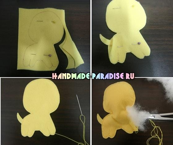 Как сшить игрушку - маленького щенка из фетра (4)