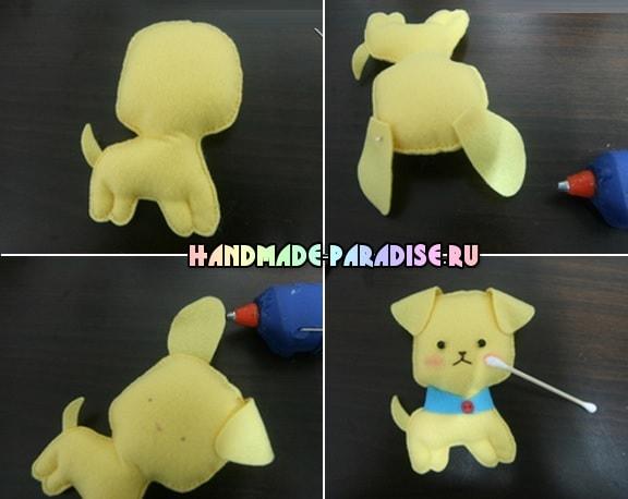 Как сшить игрушку - маленького щенка из фетра (5)