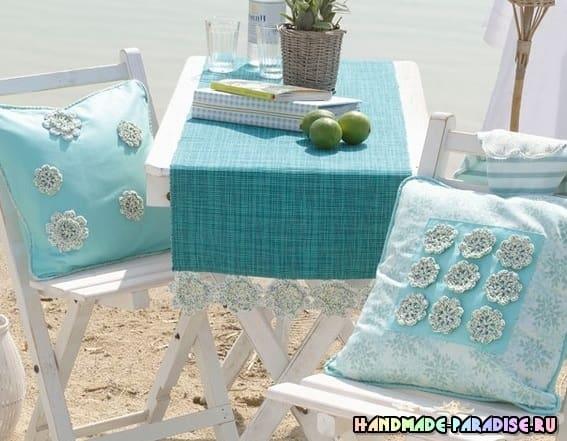 скатерти салфетки и подушки схемы вязания крючком