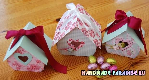 Скворечник из бумаги - подарочная упаковка для конфет (5)