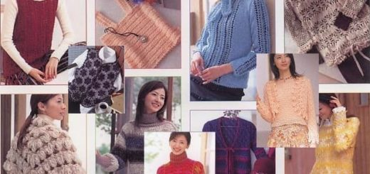 Вязание на вилке. Японский журнал со схемами