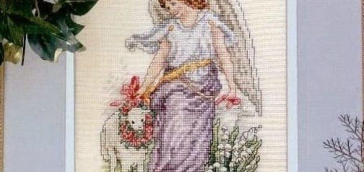 Ангел с овечкой. Схема вышивки крестом