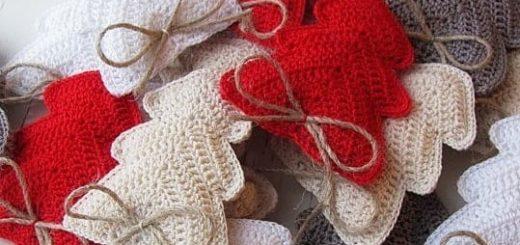 Елочки - новогодние подвески крючком