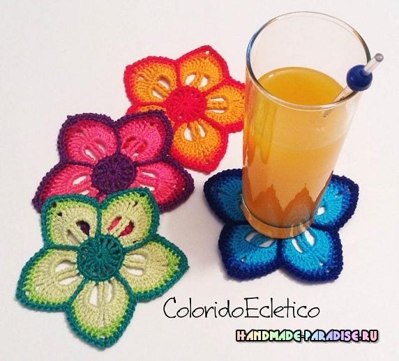 Подстаканники - цветы крючком (2)