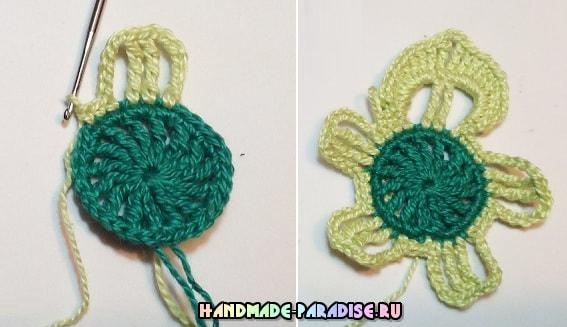Схема вязания подстаканника - цветка крючком