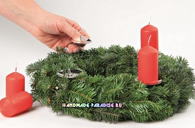 Рождественский венок - подсвечник своими руками (2)