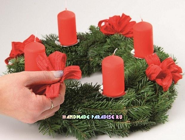Рождественский венок - подсвечник своими руками (3)