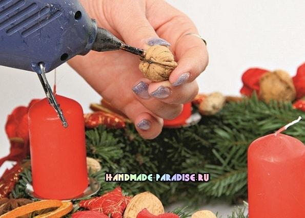Рождественский венок - подсвечник своими руками (4)