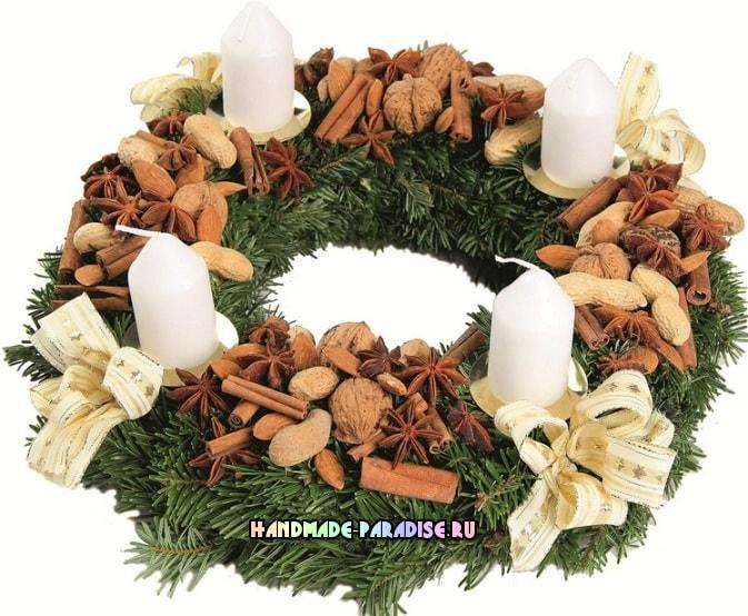 Рождественский венок - подсвечник своими руками (5)