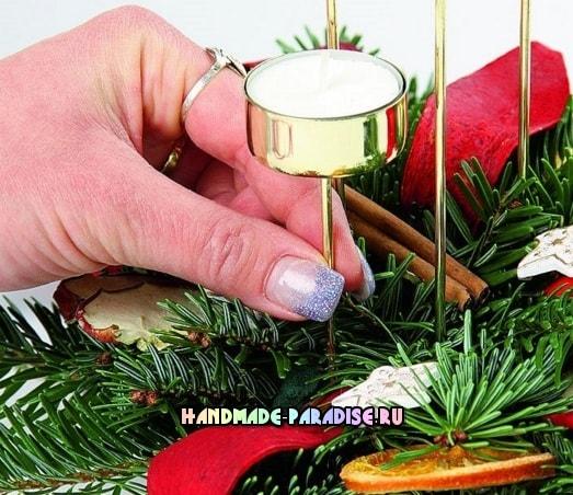 Рождественский венок - подсвечник своими руками (8)