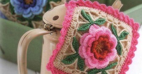 Самые красивые прихватки с розами крючком