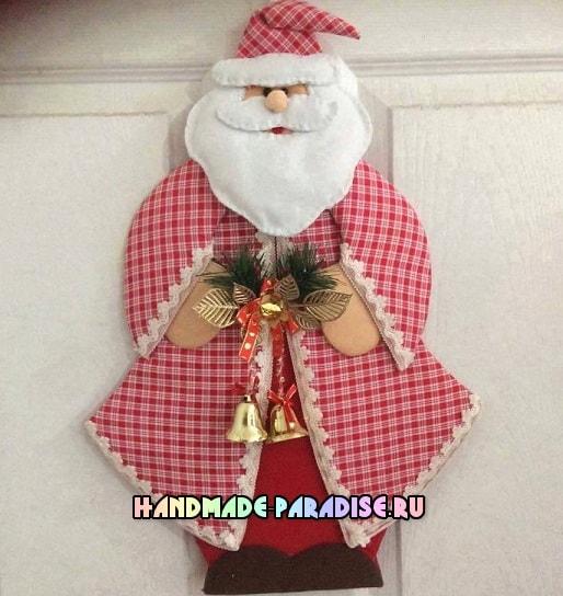 Санта Клаус - подвеска из картона и ткани (5)