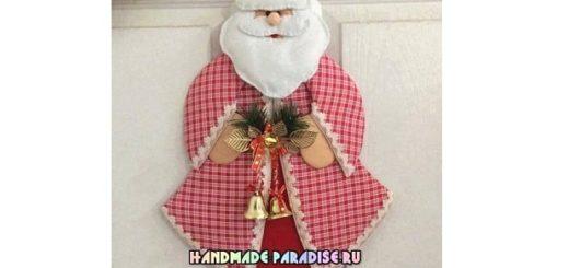 Санта Клаус - подвеска из картона и ткани
